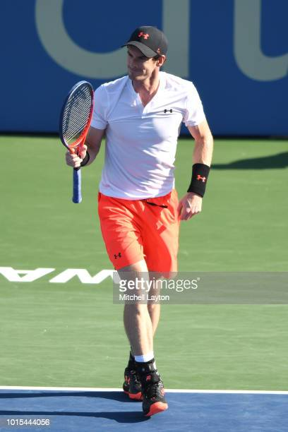 Andy Murray of Great Britain reacts to a shot shot from Kyle Edmund of Great Britain during Day Six of the Citi Open at the Rock Creek Tennis Center...