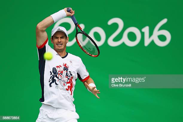 Andy Murray of Great Britain returns a backhand during the match against Steve Johnson of the United States in the Men's Singles Quarterfinal on Day...