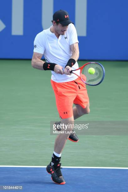 Andy Murray of Great Britain returns a backhand shot to Kyle Edmund of Great Britain during Day Six of the Citi Open at the Rock Creek Tennis Center...