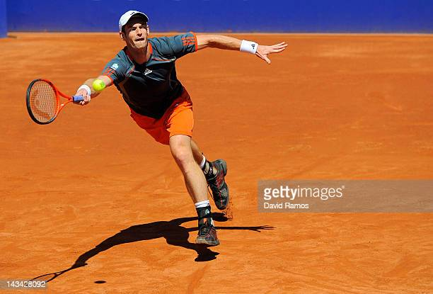 Andy Murray of Great Britain returns a ball to Santiago Giraldo of Colombia during their match on day 4 of the ATP 500 World Tour Barcelona Open...