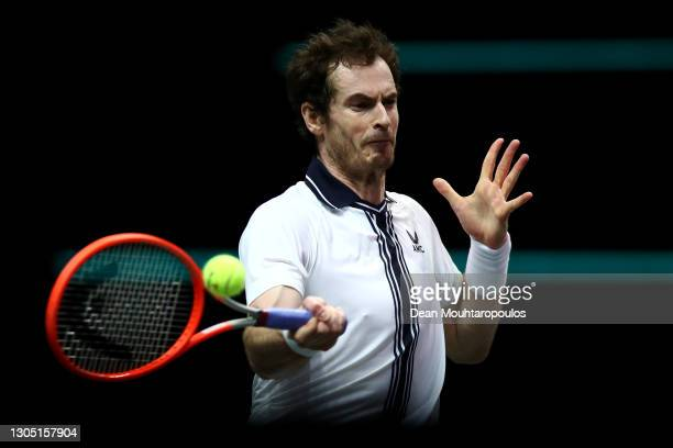 Andy Murray of Great Britain returns a forehand in his match against Andrey Rublev of Russiaduring Day 3 of the 48th ABN AMRO World Tennis Tournament...