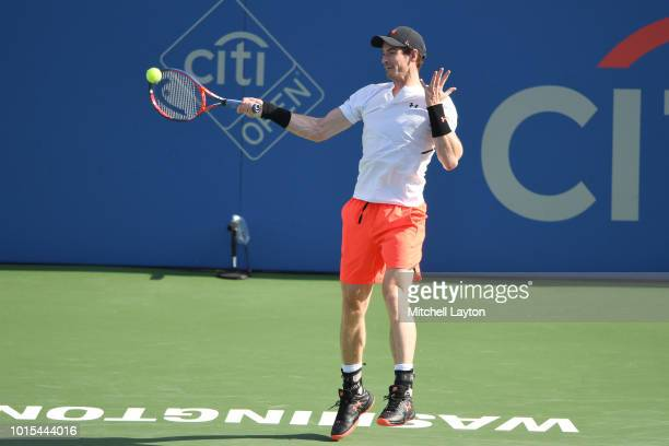 Andy Murray of Great Britain returns a forehand shot Kyle Edmund of Great Britain during Day Six of the Citi Open at the Rock Creek Tennis Center on...
