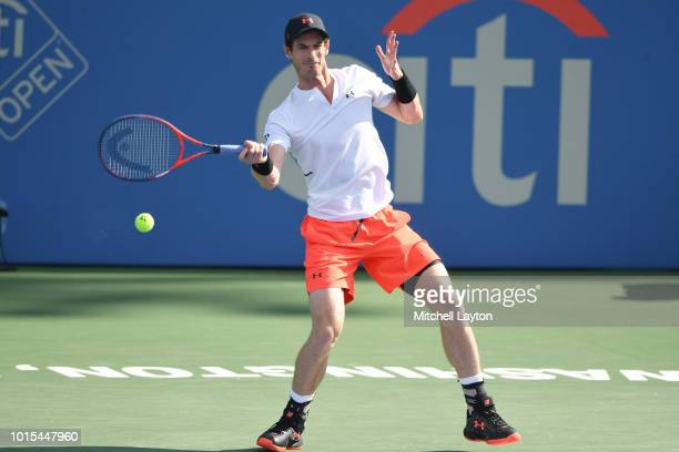 Andy Murray of Great Britain returns a forehand shot to Kyle Edmund of Great Britain during Day Six of the Citi Open at the Rock Creek Tennis Center...