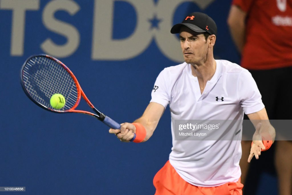 Andy Murray of Great Britain returns a forehand shot to Marius Copil of Romania during Day Six of the Citi Open at the Rock Creek Tennis Center on August 2, 2018 in Washington, DC.