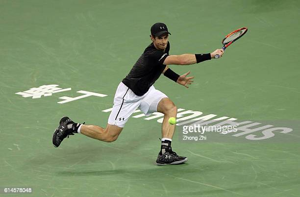 Andy Murray of Great Britain returns a shot against David Goffin of Belgium during the Men's singles quarterfinal match on day 6 of Shanghai Rolex...