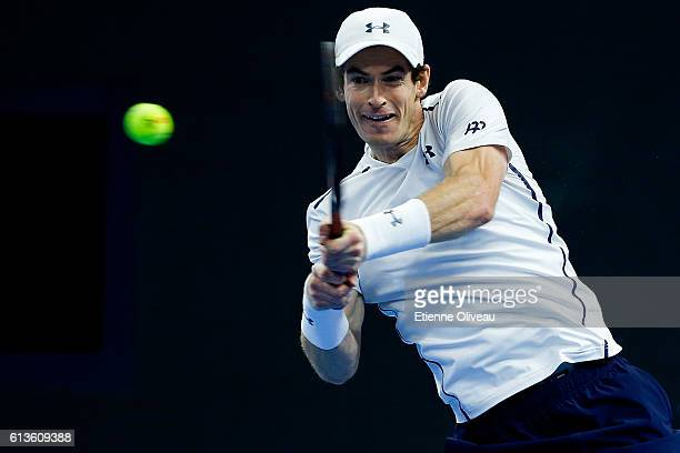 Andy Murray of Great Britain returns a shot against Grigor Dimitrov of Bulgaria during the Men's Singles final on day nine of the 2016 China Open at...