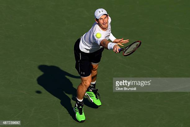 Andy Murray of Great Britain returns a shot against Kevin Anderson of South Africa during their Men's Singles Fourth Round match on Day Eight of the...