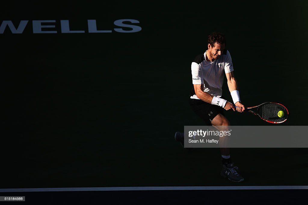 Andy Murray of Great Britain returns a shot against Marcel Granollers of Spain during the BNP Paribas Open at the Indian Wells Tennis Garden on March 12, 2016 in Indian Wells, California