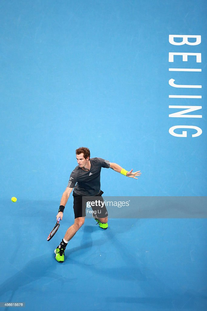 Andy Murray of Great Britain returns a shot against Pablo Cuevas of Uruguay during day six of of the China Open at the National Tennis Center on October 2, 2014 in Beijing, China.