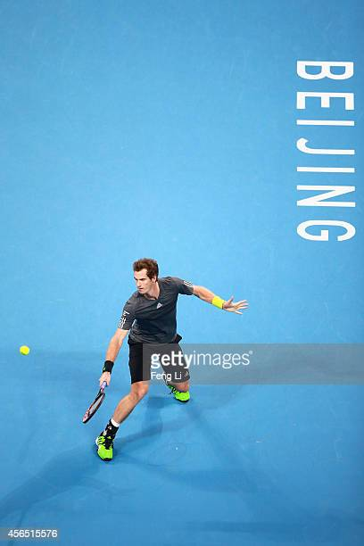 Andy Murray of Great Britain returns a shot against Pablo Cuevas of Uruguay during day six of of the China Open at the National Tennis Center on...