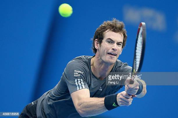 Andy Murray of Great Britain returns a shot during his semifinal match against Novak Djokovic of Serbia during day eight of the China Open at the...