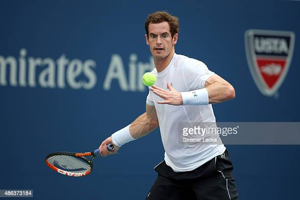 Andy Murray of Great Britain returns a shot to Adrian Mannarino of France during their Men's Singles Second Round match on Day Four of the 2015 US...