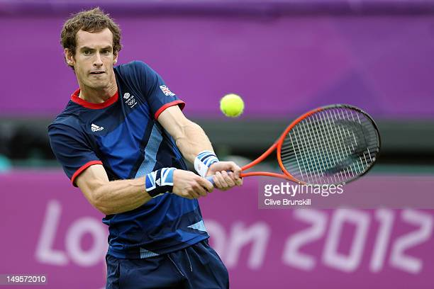 Andy Murray of Great Britain returns a shot to Jarkko Nieminen of Finland during the second round of Men's Singles Tennis on Day 4 of the London 2012...