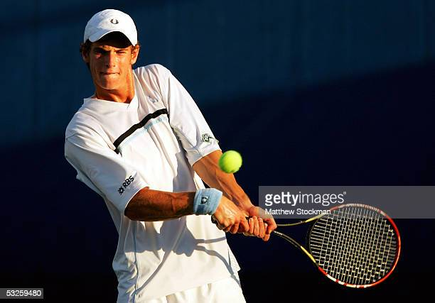 Andy Murray of Great Britain returns a shot to Jessie Witten during the RCA Championships July 19 2005 at Indianapolis Tennis Center in Indianapolis...