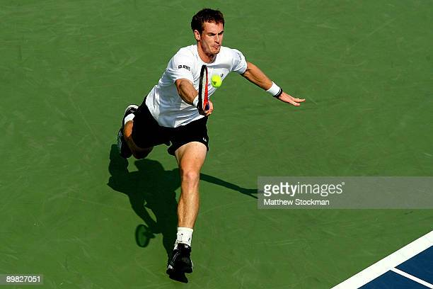 Andy Murray of Great Britain returns a shot to Juan Martin Del Potro of Argentina during final of the Rogers Cup at Uniprix Stadium on August 16 2009...