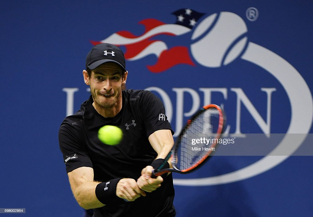 Andy Murray of Great Britain returns a shot to Lukas Rosol of the Czech Republic during his first round Men's Singles match on Day Two of the 2016 US Open at the USTA Billie Jean King National Tennis Center on August 30, 2016 in the Flushing neighborhood of the Queens borough of New York City.