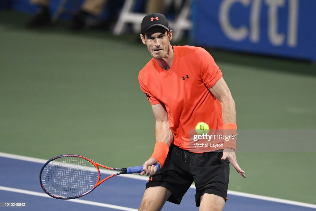 Andy Murray of Great Britain returns a shot to Marius Copil of Romania during Day Six of the Citi Open at the Rock Creek Tennis Center on August 2, 2018 in Washington, DC.