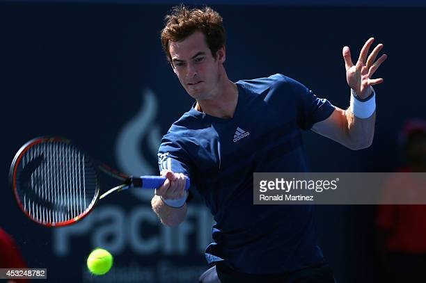 Andy Murray of Great Britain returns a shot to Nick Kyrgios of Australia during Rogers Cup at Rexall Centre at York University on August 6 2014 in...