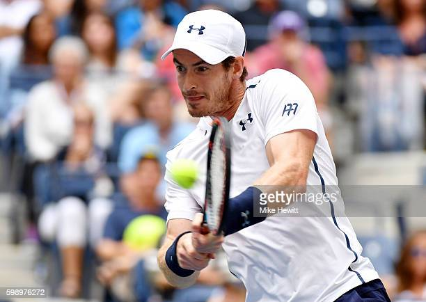 Andy Murray of Great Britain returns a shot to Paolo Lorenzi of Italy during his third round Men's Singles match on Day Six of the 2016 US Open at...