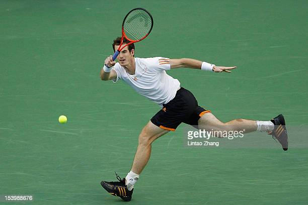 Andy Murray of Great Britain returns a shot to Radek Stepanek of the Czech Republic during the Men's Single Quarterfinals of the Shanghai Rolex...