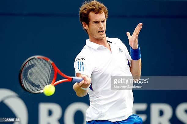 Andy Murray of Great Britain returns a shot to Rafael Nadal of Spain during the semifinals of the Rogers Cup at the Rexall Centre on August 14 2010...