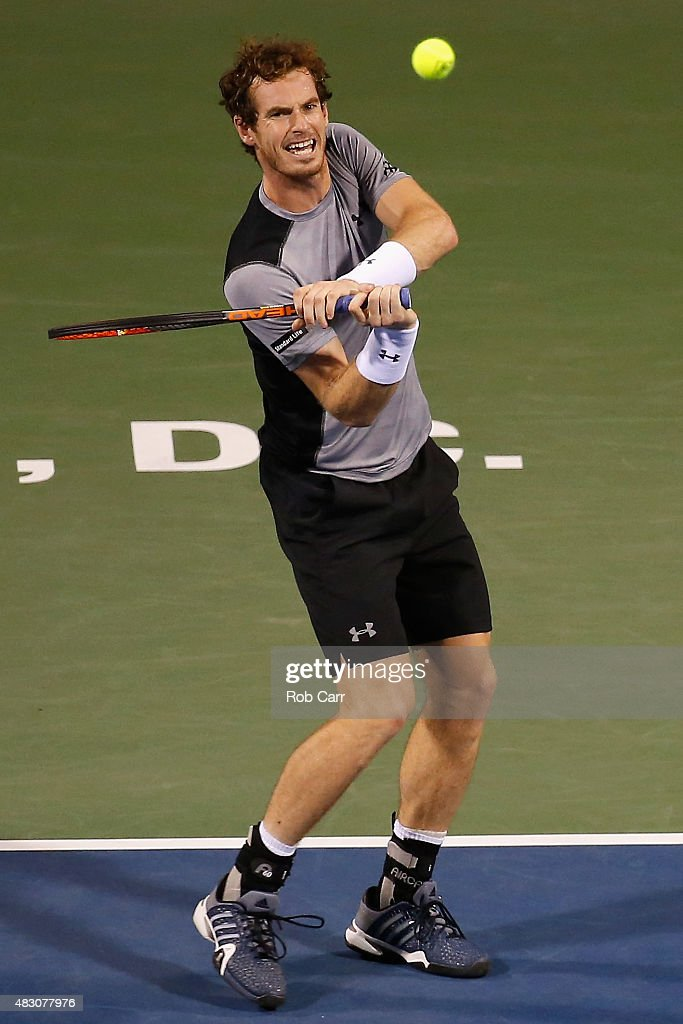 Andy Murray of Great Britain returns a shot to Teymuraz Gabashvili of Russia during their singles match at Rock Creek Tennis Center on August 5, 2015 in Washington, DC.