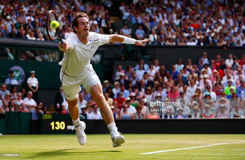 Andy Murray of Great Britain returns in his Gentlemen's Singles Fourth Round match against Ivo Karlovic of Croatia during day seven of the Wimbledon Lawn Tennis Championships at the All England Lawn Tennis and Croquet Club on July 6, 2015 in London, England.