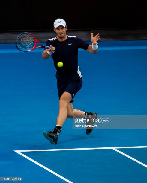 Andy Murray of Great Britain returns the ball during day 1 of the Australian Open on January 14 2019, at Melbourne Park in Melbourne, Australia.
