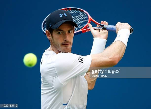 Andy Murray of Great Britain returns the ball during his men's singles second round match against Fernando Verdasco of Spain on Day Three of the 2018...