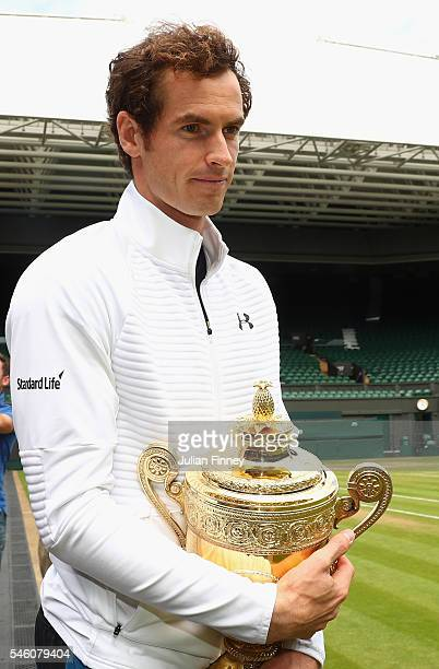 Andy Murray of Great Britain revisits centre court at Wimbledon on July 11 2016 in London England