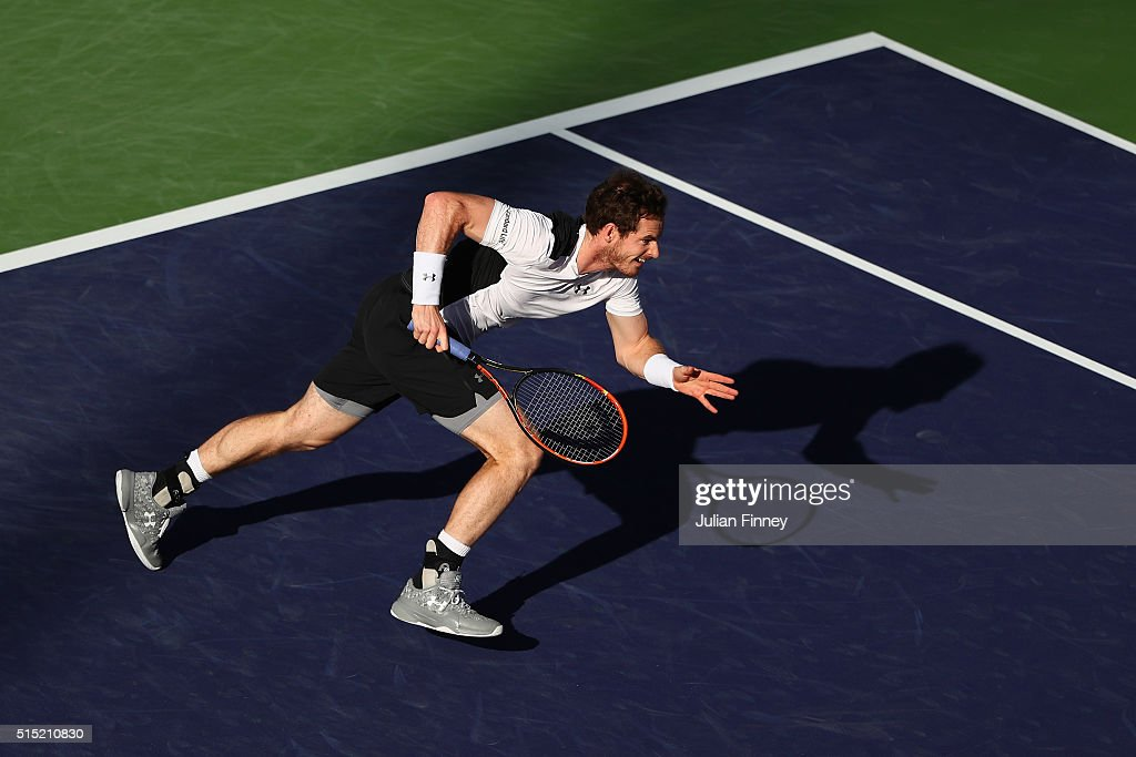 Andy Murray of Great Britain runs for a shot against Marcel Granollers of Spain during day six of the BNP Paribas Open at Indian Wells Tennis Garden on March 12, 2016 in Indian Wells, California.