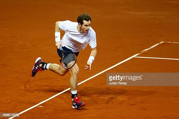 Andy Murray of Great Britain runs for a shot during a practice session ahead of the start of the Davis Cup Final at Flanders Expo on November 25 2015...