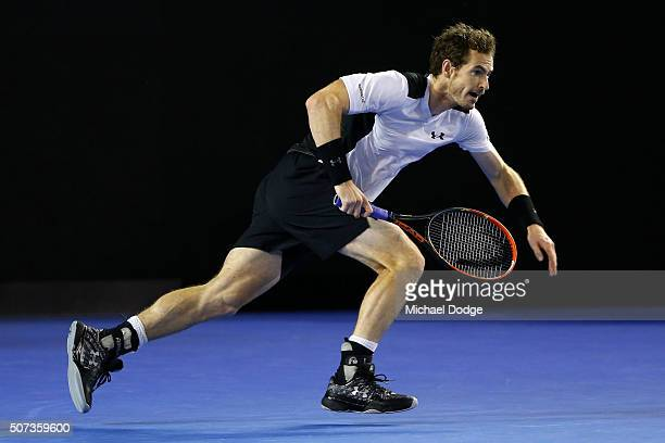 Andy Murray of Great Britain runs to play a shot in his semi final match against Milos Raonic of Canada during day 12 of the 2016 Australian Open at...