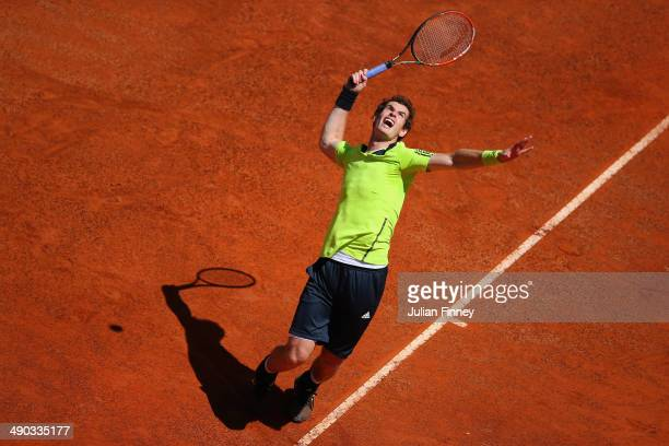 Andy Murray of Great Britain serves against Marcel Granollers of Spain during day four of the Internazionali BNL d'Italia tennis 2014 on May 14 2014...