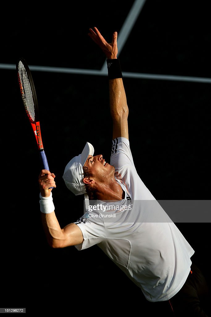 Andy Murray of Great Britain serves against Marin Cilic of Croatia during their men's singles quarterfinal match on Day Ten of the 2012 US Open at USTA Billie Jean King National Tennis Center on September 5, 2012 in the Flushing neighborhood of the Queens borough of New York City.