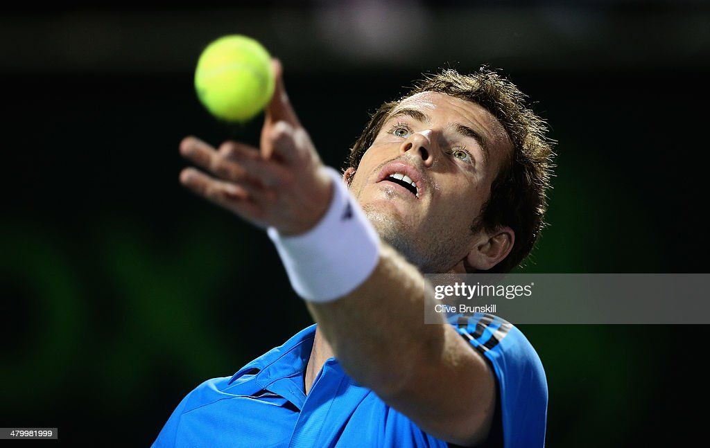Andy Murray of Great Britain serves against Matthew Ebden of Australia during their second round match during day 5 at the Sony Open at Crandon Park Tennis Center on March 21, 2014 in Key Biscayne, Florida.