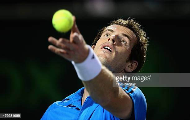 Andy Murray of Great Britain serves against Matthew Ebden of Australia during their second round match during day 5 at the Sony Open at Crandon Park...