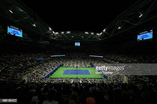 Andy Murray of Great Britain serves against Nick Kyrgios of Australia during their Men's Singles First Round match in Arthur Ashe Stadium on day two...