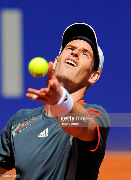 Andy Murray of Great Britain serves against Santiago Giraldo of Colombia during their match on day 4 of the ATP 500 World Tour Barcelona Open Banco...