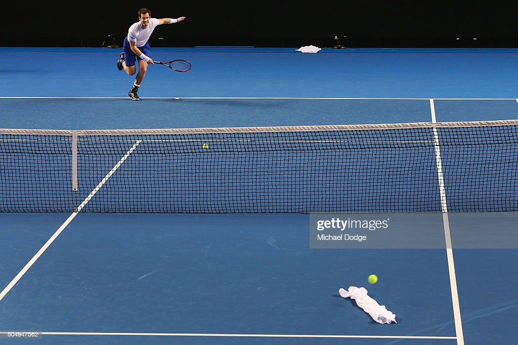 Andy Murray of Great Britain serves at a white towell during a practice session ahead of the 2016 Australian Open at Melbourne Park on January 14, 2016 in Melbourne, Australia.