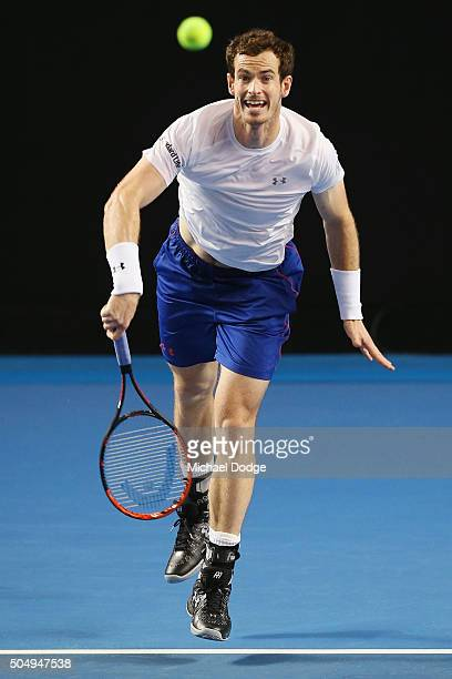 Andy Murray of Great Britain serves during a practice session ahead of the 2016 Australian Open at Melbourne Park on January 14 2016 in Melbourne...