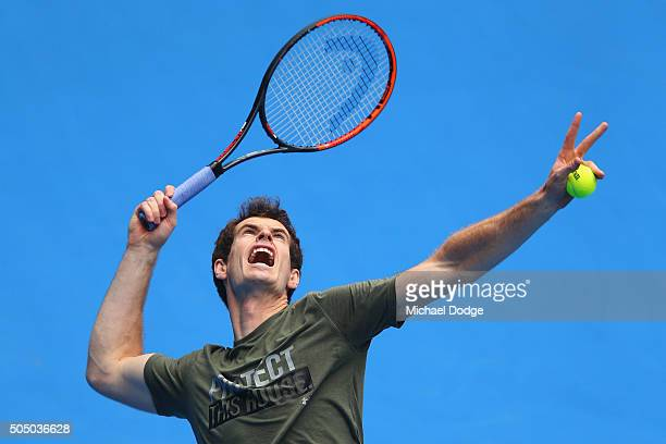 Andy Murray of Great Britain serves during a practice session ahead of the 2016 Australian Open at Melbourne Park on January 15, 2016 in Melbourne,...