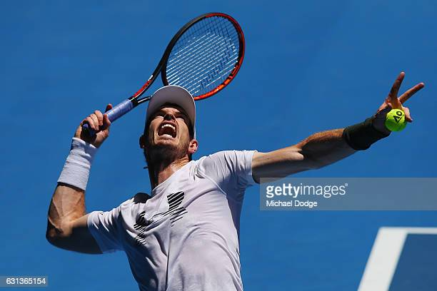 Andy Murray of Great Britain serves during a practice session ahead of the 2017 Australian Open at Melbourne Park on January 10 2017 in Melbourne...