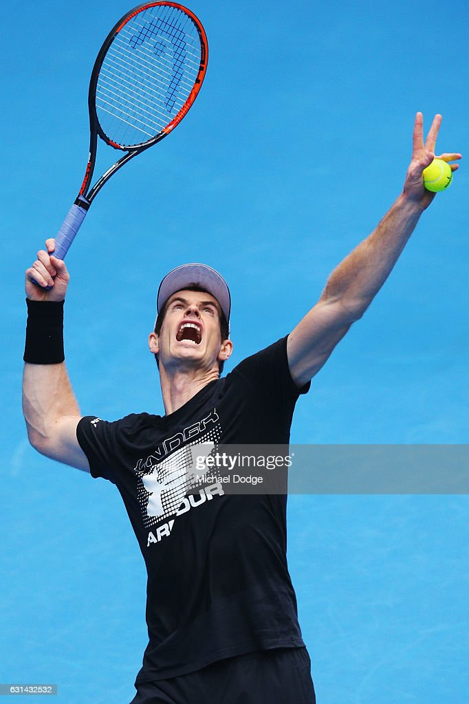 Andy Murray of Great Britain serves during a practice session ahead of the 2017 Australian Open at Melbourne Park on January 11, 2017 in Melbourne, Australia.