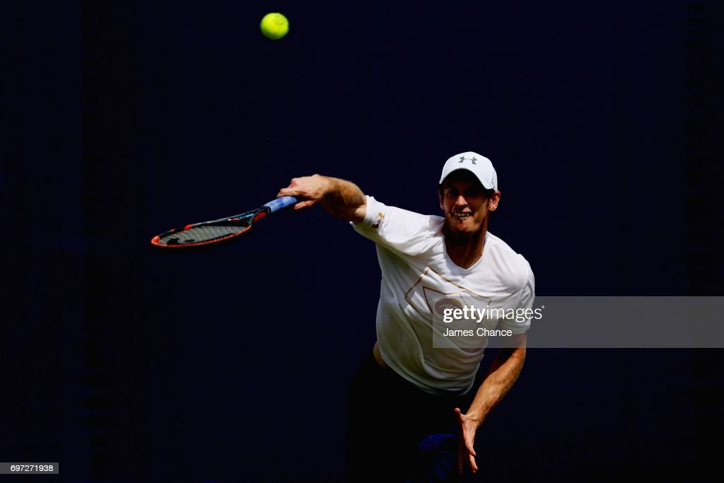 Andy Murray of Great Britain serves during a practice session ahead of the Aegon Championships at Queens Club on June 16, 2017 in London, England.