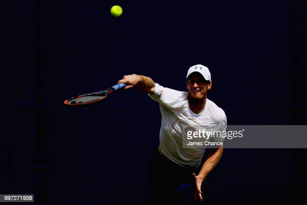 Andy Murray of Great Britain serves during a practice session ahead of the Aegon Championships at Queens Club on June 16 2017 in London England