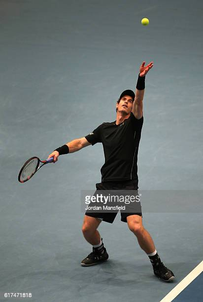Andy Murray of Great Britain serves during his match against JoWilfried Tsonga of France during Tie Break Tens at Wiener Stadthalle on October 23...