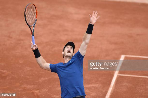 Andy Murray of Great Britain serves during his men's single match against Andrey Kuznetsov of Russia on day three of the 2017 French Open at Roland...