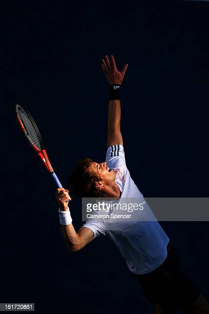 Andy Murray of Great Britain serves during his men's singles final match against Novak Djokovic of Serbia on Day Fifteen of the 2012 US Open at USTA...