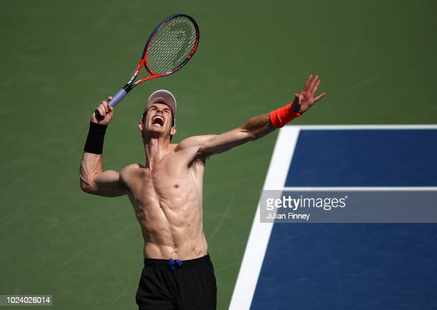 Andy Murray of Great Britain serves during previews for the US Open at USTA Billie Jean King National Tennis Center on August 26 2018 in the Flushig...